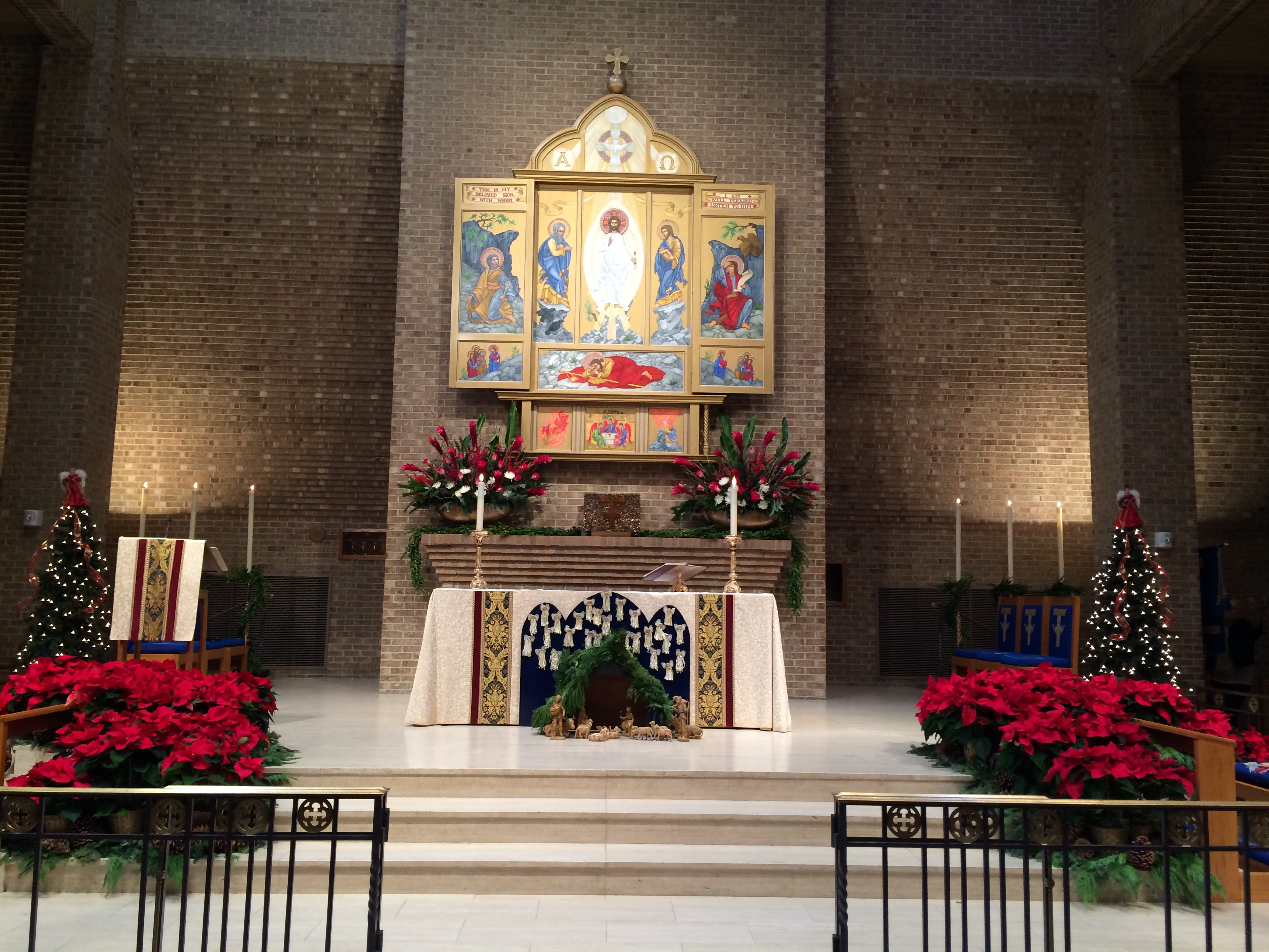 decorating the church for christmas transfiguration altar at christmas