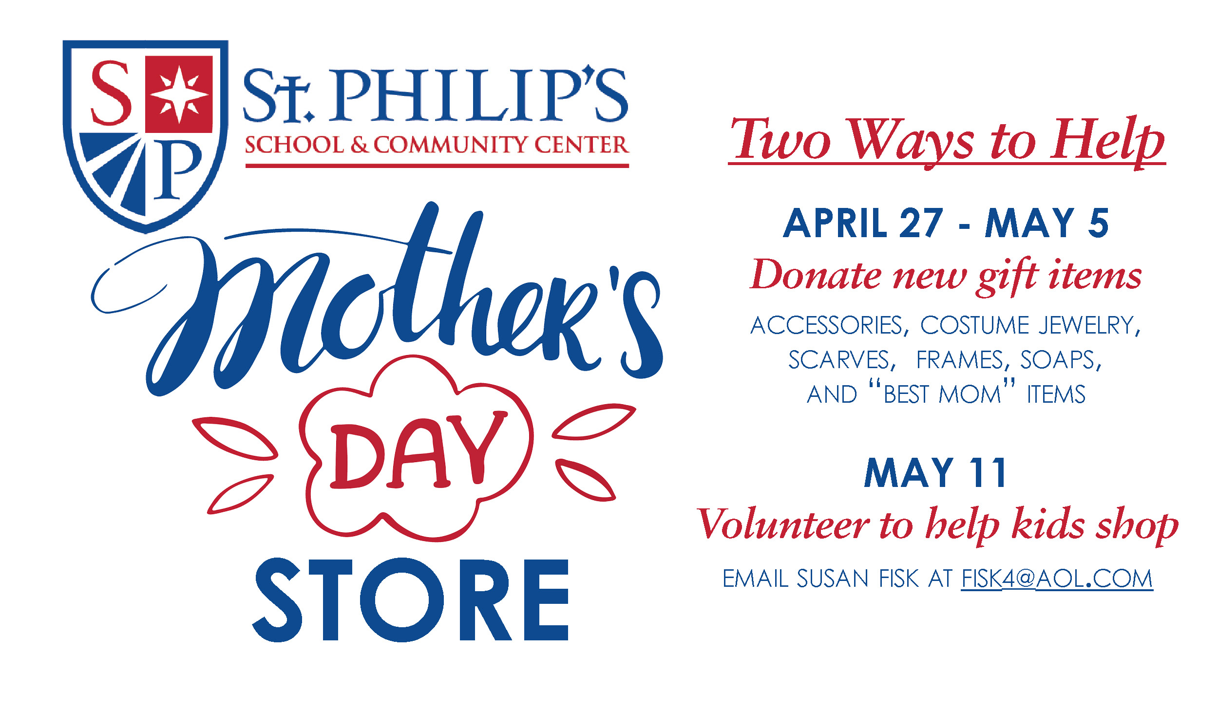 St. Philip's School & Community Center – Mother's Day Store